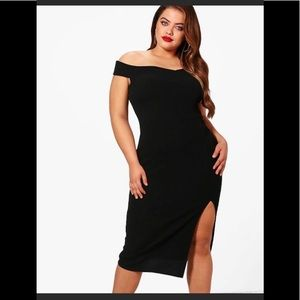 Plus Wrap Bardot split dress